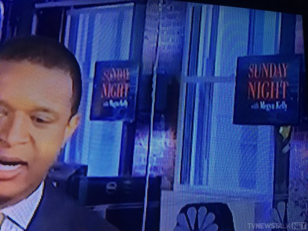 Megyn Kelly promo seen in the background of MSNBC live, studio 4E.
